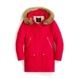 J. Crew Chateau Parka Stadium Cloth Magenta Coat